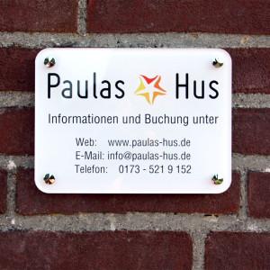 Türschild Paulas Hus
